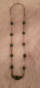 Gold Tone Emerald Green Lucite Necklace